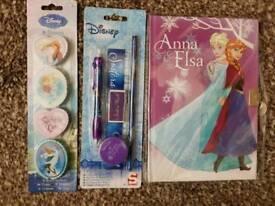 Disney Frozen Diary w/Key Erasers & Stationary Set BRAND NEW