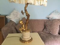 Cherub Antique Lamp includes Shade and Bulb Height measures 26in/66cm