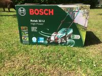 BOSCH ROTAK 32LI ERGOFLEX CORDLESS MOWER. USED ONCE VERY POWERFUL QUICK CHARGE LIGHT & EASY TO USE