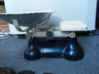 Vintage, Kitchen Scales, Blue, Cast Iron, with Enamel pan and full set of weights