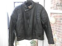 Black leather motorcycle jacket size 46. choice of 2 for sale