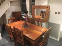 Beautiful dining table, chairs, matching cabinet and mirror