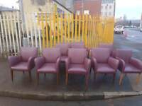 Purple/wine leather arm chairs