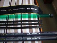 map competition power margin pole 8.5 m plus 1.6m extension 3 top kits elasticated daiwa elastic