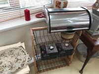 Stainless steel bread bin with lift up lid. Good condition