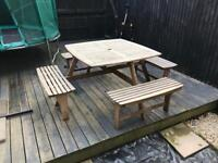 Wooden Garden Picnic Style Bench - 8 Seater
