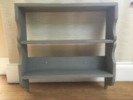 shabby chic rustic pine shelves in grey