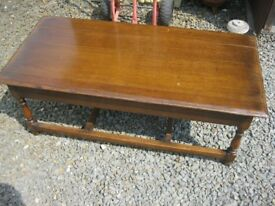 VINTAGE VERY LONG SOLID OAK COFFEE TABLE. VIEWING / DELIVERY AVAILABLE