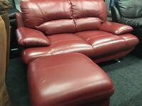 NEW / Ex DISPLAY Real Leather Samara 2 Seater Sofa + Footstool