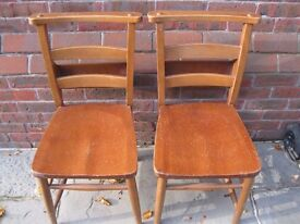 A PAIR OF CHURCH / CHAPEL CHAIRS. Different chairs for sale.
