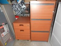 70's 80's (x2) Vintage Reto Teak 3 Drawer Filing Cabinet and Matching 2 Drawer Cabinet. Ex Cond.