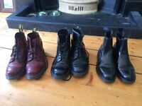 Doc Marten boots size 7 Black lace ups , red lace ups and black slip ons