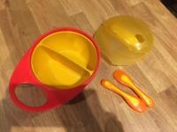 Baby weaning things, travel bowl, plastic bib and bowl holder