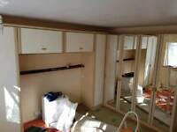 Large over bed wardrobe with mirrored wardrobes
