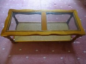 Glass-topped occasional table