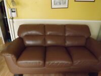 Leather 3 Seater Brown Settee As New