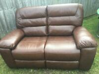 NEW Two Seater Electric Reclining Leather Sofa