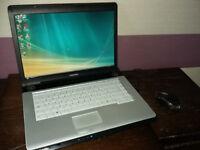 TOSHIBA DUAL CORE LAPTOP DUAL CORE GENUINE WINDOWS 250 GB HARD DRIVE DVD RW WIRELESS 2 GB DDR