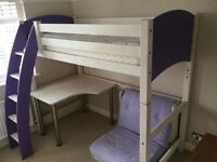 kids high sleeper bed, desk and futon, cost £800 when new, vgc