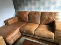 Family Brown Leather Corner Sofa ASAP, Delivery Available