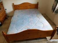Pine Double Bed & Matress