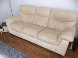 leather 2 and 3 settee cream