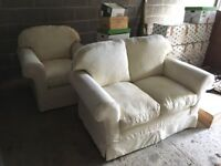 Settee & Chair - Cream Washable Covers - Used Once
