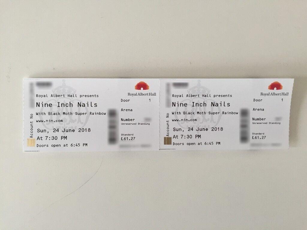 Nine Inch Nails Concert, Royal Albert Hall, London - 2 x Arena ...