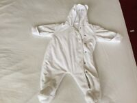 Pram suit white with blue bear 3-6 months from Next