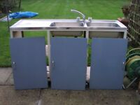 1960s kitchen sink unit with double stainless steel sinks