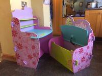 Polly Pocket Wooden Desk & Storage Bench