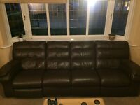 soft brown leather settee