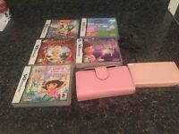 Pink ds lite plus charger case and games