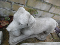 dog with ball concrete stone garden ornament
