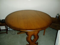 Drop-Leaf Round Dining Table