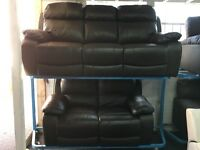 New / Ex Display LazyBoy Brown Leather 3 Seater + 2 Seater Sofa Recliner