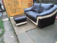 3 Seater Brown leather sofa and Poufe