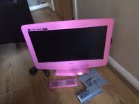 Pink 19inch bush TV and DVD combo