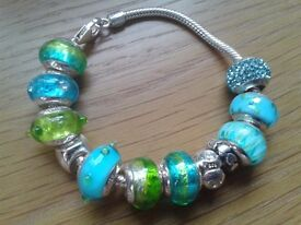LOVELINKS SILVER BRACELET WITH 12 x LOVELINKS SILVER, TURQUOISE & LIME CHARMS - BRAND NEW
