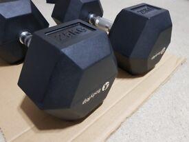 BODYRIP 2 x 25kg HEXAGONAL HEX RUBBER ENCASED ERGO DUMBBELL DUMBBELLS WEIGHTS