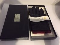 BRAND NEW DENTS BLACK LEATHER GLOVES RED WOOL LINING MENS WITH GIFT BOX
