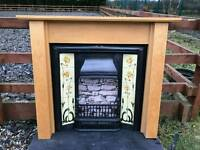 104 Cast Iron Fireplace Surround Fire Wood Old Tiled Insert Antique Victorian Style f