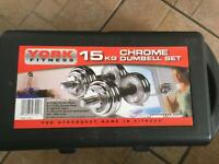 York Fitness 15kg Chrome Dumbell Set - excellent condition