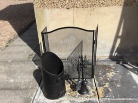 Fireside accessories- fire guard, coal hod, tools