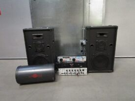DJ setup Equipment Loudspeaker power amp CD player Microphone