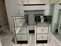 Two Mirrored Bedside Tables