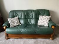 Leather 3 seater sofa and 2 arm chairs for sale
