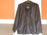 LEATHER BUTTON FASTENING JACKET IN BROWN. MADE BY HIDEPARK. SIZE MEDIUM.