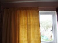 Pair of cream/soft yellow lined curtains plus one single similar
