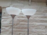 2 X IKEA Silver Standing Lamps Lights. Working fine, well used but plenty of life left in them.